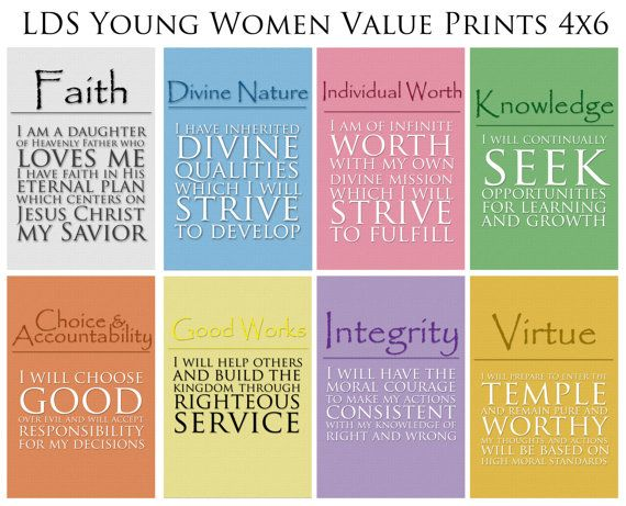 Great gift for new Beehives!  4x6 LDS Young Women Values  8 print value pack  by caitlinwilhelm, $8.00