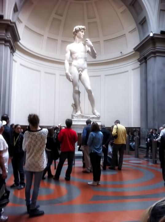 Florence's Galleria dell' Academia, holds Michelangelo's David, easily the most famous sculpture in the world.