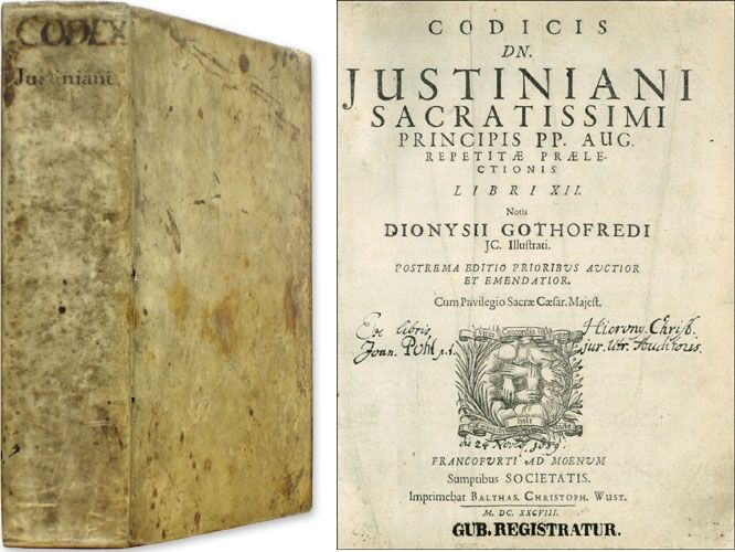 Justinian's Code-collection of Roman laws organized by the Byzantine emperor Justinian and later serving as a model for the Catholic Church and medieval monarchs