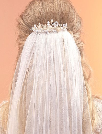 Arianna Veil Comb - AR434, Pearl & crystal cherry blossom 2 pronged comb to sit at the top of a veil