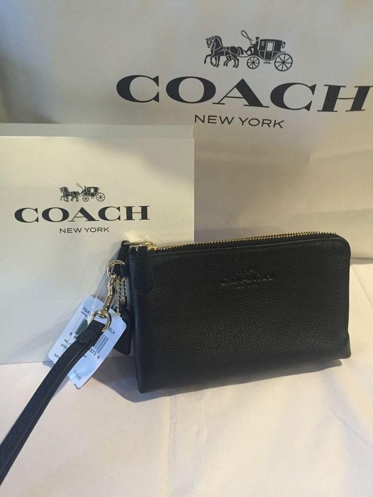Coach Black Leather Double Corner Zip Wristlet Wallet Clutch F64130 Imblk   eBay