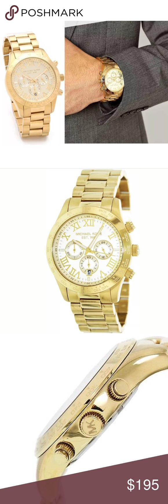 Michael Kors Layton gold & white face unisex watch Brand new with a $250 pricetag. Authentic. Comes in the original watch box with authenticity/warranty booklet and pillow. I added a picture of this on a male and female so you can see what it looks like on either gender as I'm pretty sure it's a unisex watch. It's very pretty and the detailing is top notch! Michael Kors Layton gold & white face unisex watch. Michael Kors Accessories Watches