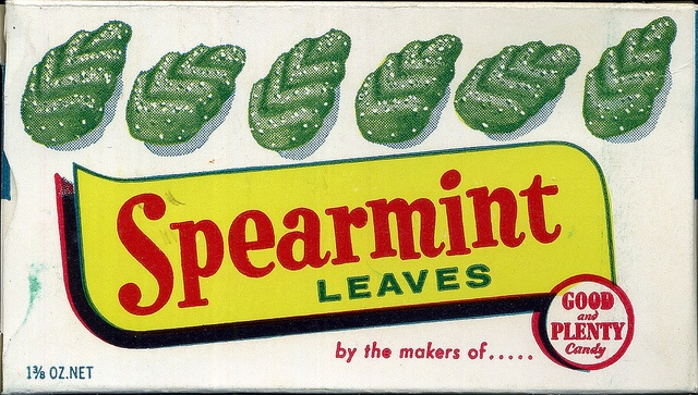 Spearmint Leaves....Yum! My mother always bought me a few, and a few Tarzan's jubes, when I was sick. She didn't believe in lollies at any other time!!