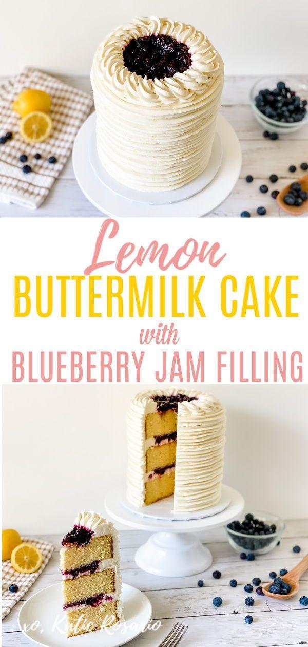 Lemon Buttermilk Cake With Blueberry Jam Filling Katie Rosario Recipe In 2020 Cake Cake Decorating For Beginners Blueberry Jam