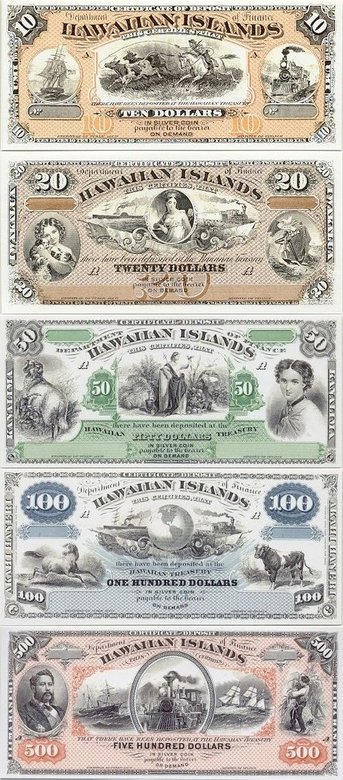 Hawaii:   10 Dollars (1880), 20 Dollars (1879), 50 Dollars ND(1879), 100 Dollars…