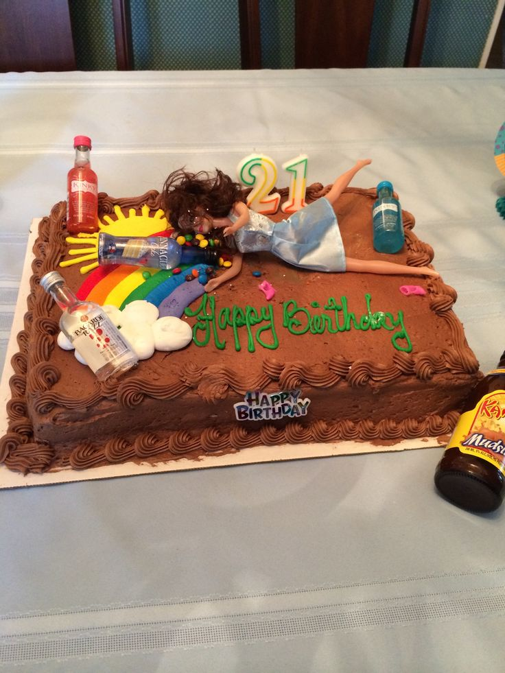 21st Birthday Cake Barbie Throwing Up Drunk Barbie Cake Creative