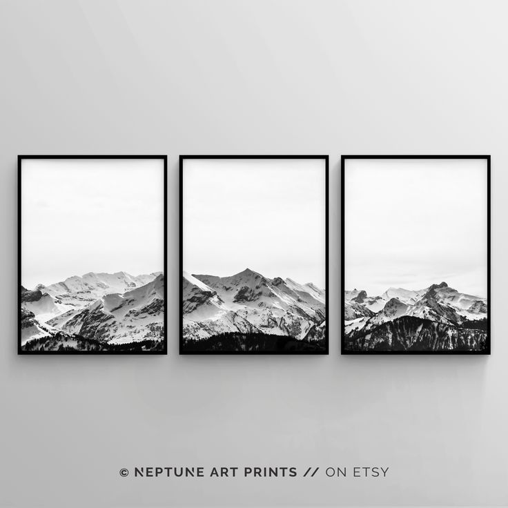 Black and white mountain print set of 3 snow mountain printable wall art 3 piece poster minimalist modern landscape home decor digital