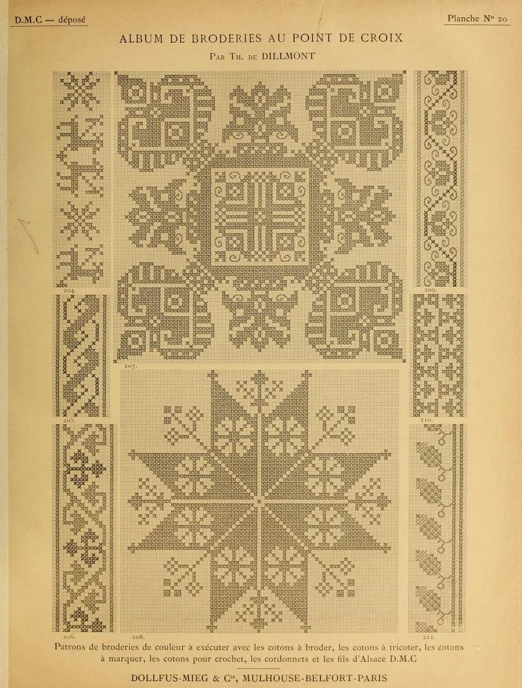 Album de broderies au point de croix. Beautiful antique cross stitch patterns.