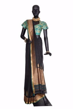 Stunning black saree with the gold work dresses up any occasion.