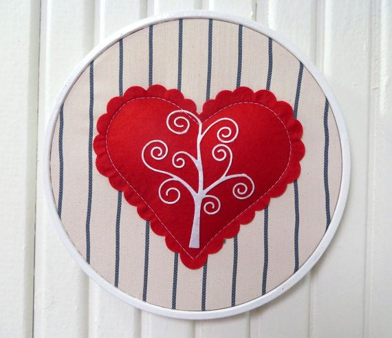 Rotund Red Heart White Wooden Embroidery Hoop by sesideco on Etsy, $19.00