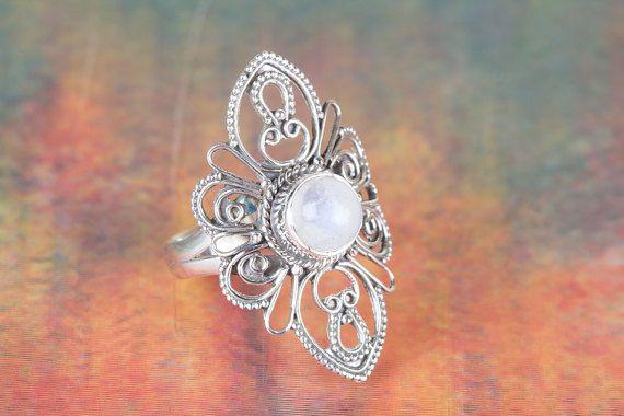 Moonstone Ring Silver Ring Moonstone Moon Ring Sterling
