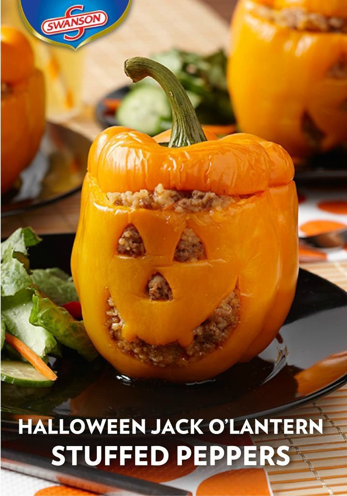 Halloween Jack O'Lantern Stuffed Peppers – With ground turkey, couscous, cheddar cheese and onion, these stuffed peppers are seriously fun (and not to mention, delicious). If you're looking to spice up your spooky Halloween dinner menu, look no further than this fun and festive recipe.