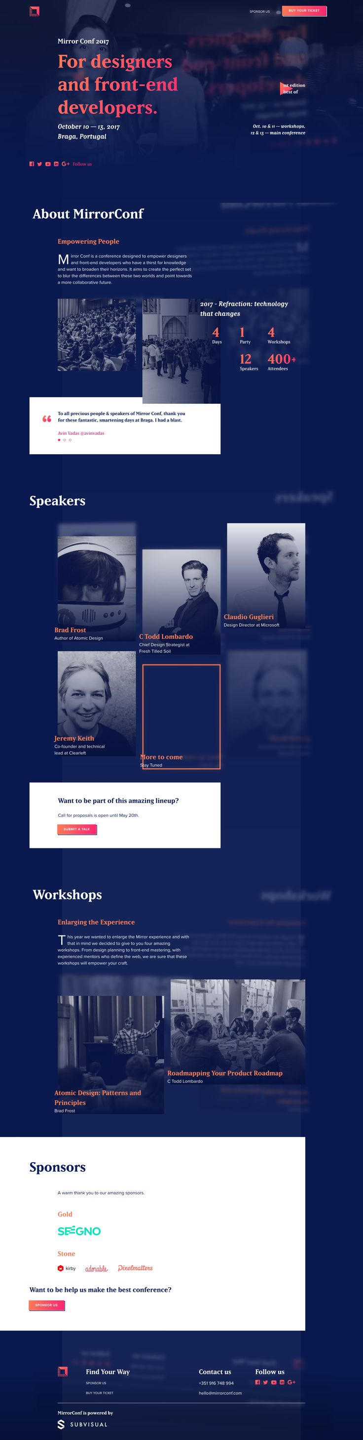 "Long scrolling One Pager for the 2017 'Mirror Conf' to be held in Braga, Portugal. The Single Page website features an interesting ""mirrored content"" blurred background effect to tie in with the branding."