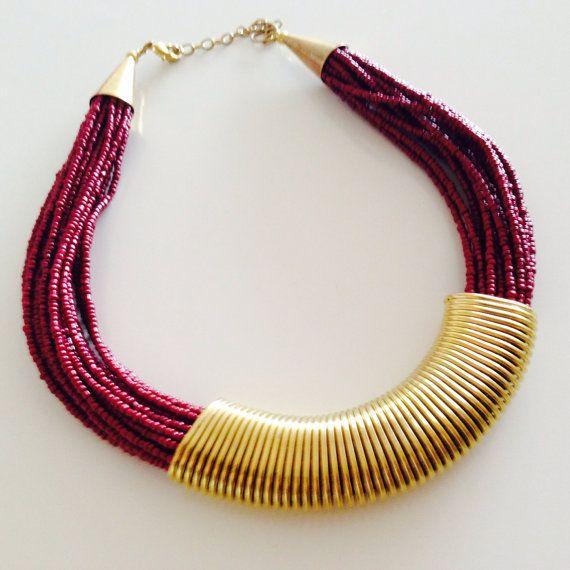Bib necklace/ maroon beaded necklace/ choker by sudarium on Etsy, $22.00