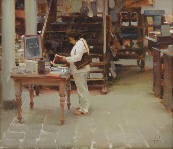 "Kim English, Book Sale , oil on canvas, 16 "" x 18"""