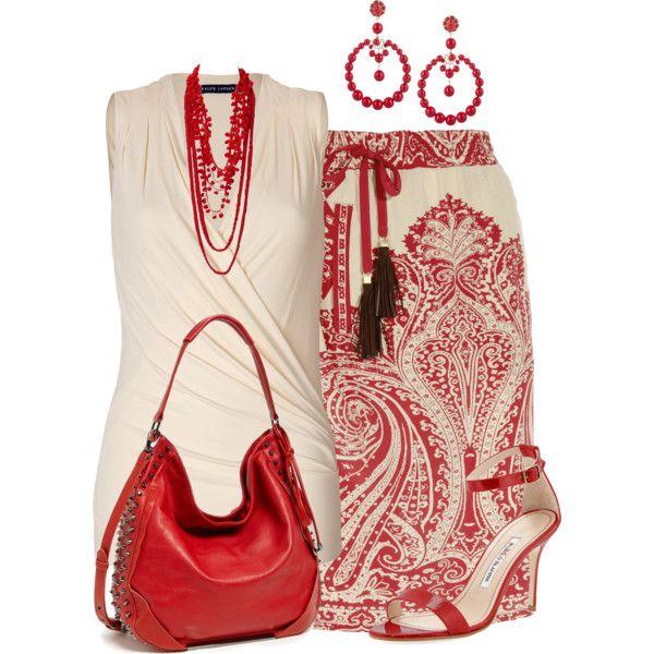 Print silk skirt by marisol-menahem on Polyvore featuring moda, Ralph Lauren Blue Label, Etro, Manolo Blahnik, Poverty Flats, Oscar de la Renta and Oasis