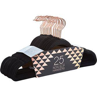 25 Pack Black Non-Slip Hangers