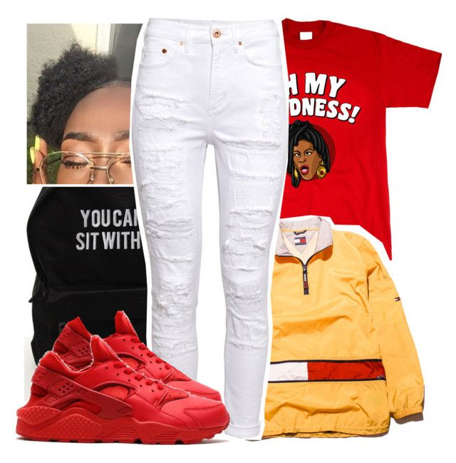 """""""Untitled #391"""" by darkskinn-awa ❤ liked on Polyvore featuring Tommy Hilfiger, H&M and NIKE"""