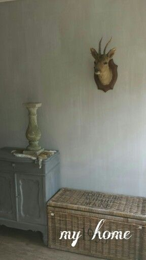 Muur in de kalkverf gedaan met de kleur beton van carte colori