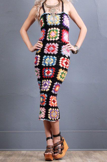 Granny Square Dress Women Crochet Summer Dress by GrahamsBazaar