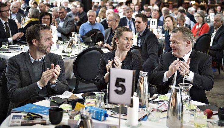 Danske Regioner holdt torsdag deres generalforsamling i Centralværkstedet i Aarhus. Her ses statsminister Lars Løkke Rasmussen med Morten Østergaard og Mette Frederiksen . (foto: Henning Bagger/Scanpix2016)