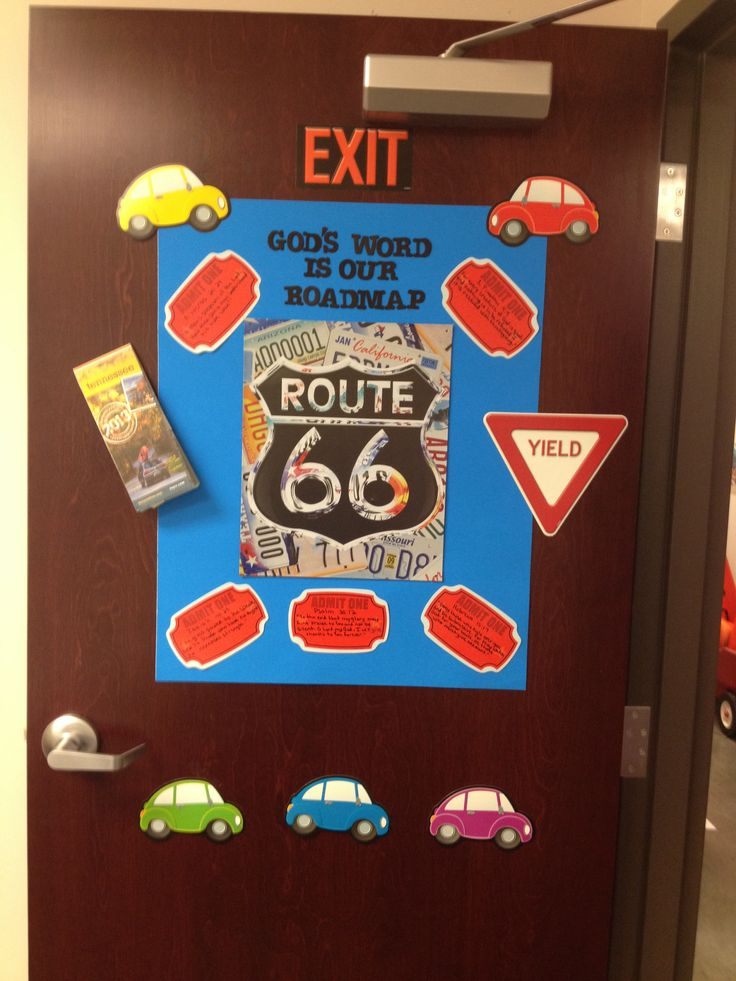 VBS- Promised Land or Bust door decoration idea. Route 66 decoration on poster board with a map, car and sign decorations purchased from Parent Teacher Store. Memory verses of all 5 lessons.