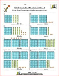 place value worksheets blocks to 1000 3