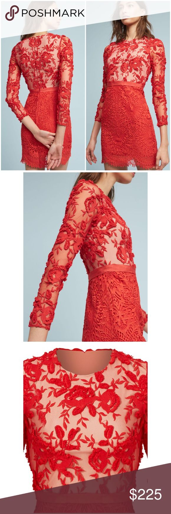 "Anthropologie Serena Embroidered Dress From ready-to-wear to bridal, each sophisticated collection from Monique Lhuillier is even more exquisite than the last.❤️ Get ready to turn heads in a striking red sheath dress with delicate lace detail. Polyester; lace overlay Sheath silhouette Embroidered lace detail Back zip Dry clean Imported Dimensions Falls 36"" from shoulder. Tag Says 16 but would fit 12/XL IMO. Bust 22"" waist 18"" hip 24"". All measurements are approximate Anthropologie Dresses"