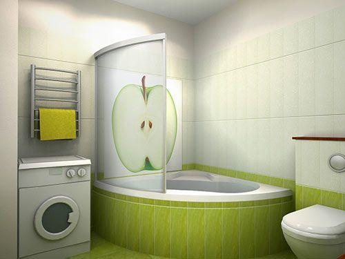 Дизайн маленькой ванной обоями фото
