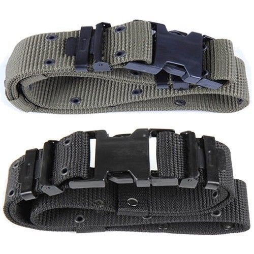 Military Army Style Mens Utility Web Belt Black OD Green Equipment Belt for Men…