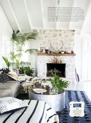 modern home decor with a bit of boho and mid-century modern. loving the blue rug