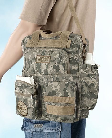 Covered in modern camouflage, this Military Camouflage Daddy Diaper Bag is great way to Daddy to carry all of baby's supplies.  A fun, manly alternative diaper bag for Dads.