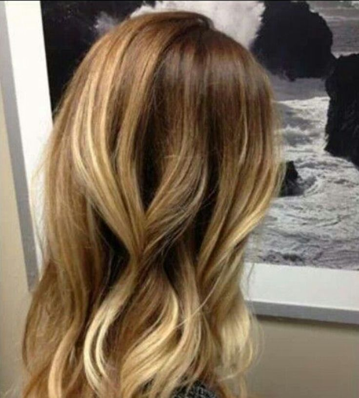 Honey blonde balayage highlights with ombre light blonde tips
