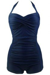 Chic Solid Color Halter Pleated One-Piece Swimwear For Women (PURPLISH BLUE,XL) | Sammydress.com Mobile