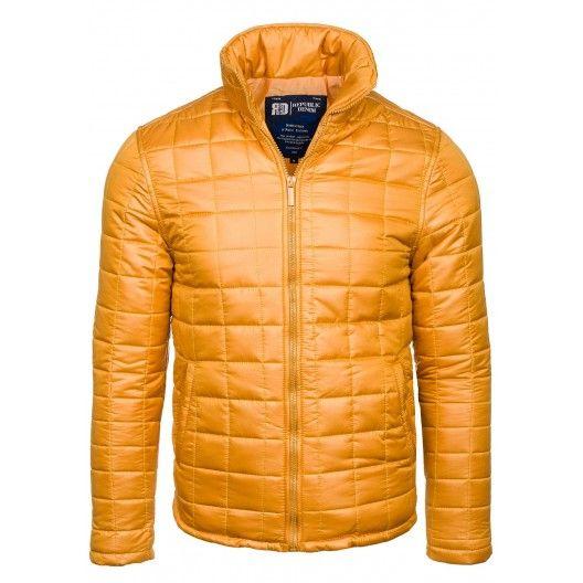 Pánska zimná bunda bez kapucne žltej farby - fashionday.eu