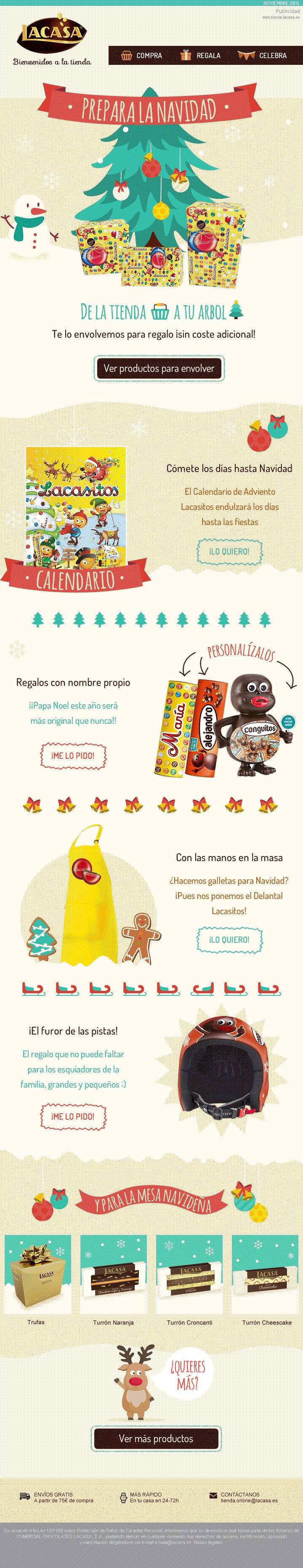 #CHOCOLATES #LACASA · A special newsletter designed to communicate many new products and to encourage users to visit the #estore for their Christmas ideas · https://www.tienda.lacasa.es
