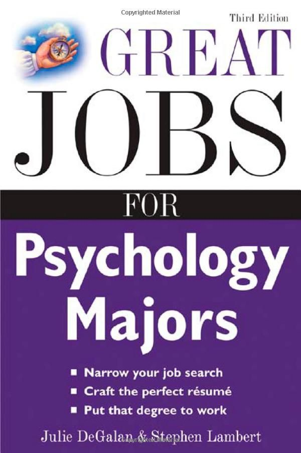 Great Jobs for Psychology Majors Check out Manor's program: http://www.manor.edu/academics/degrees/psychology.php