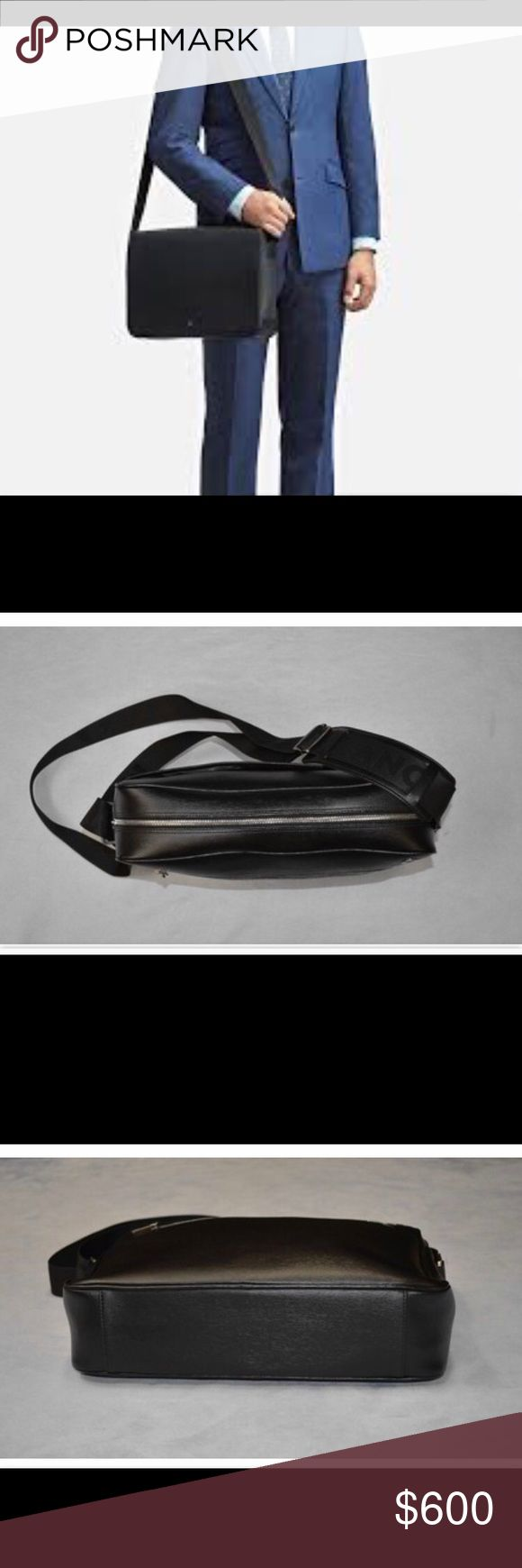 Mont Blanc Platinum Leather Messenger Bag Platinum Leather Collection Messenger bag with genuine leather, inside zipper, middle laptop compartment, adjustable shoulder strap, hidden magnets closure, palladium-coated fittings and Montblanc name and emblem with palladium-coated ring Montblanc Bags Shoulder Bags