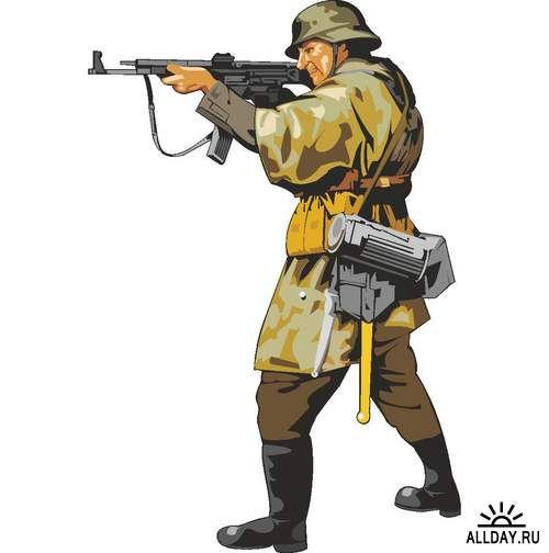 Солдаты и офицеры времен Второй Мировой Войны (вектор ...