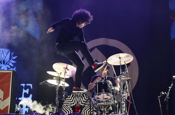 At the Drive-In frontman Cedric Bixler-Zavala performs on Saturday night. Photograph: Mark Metcalfe/Getty Images