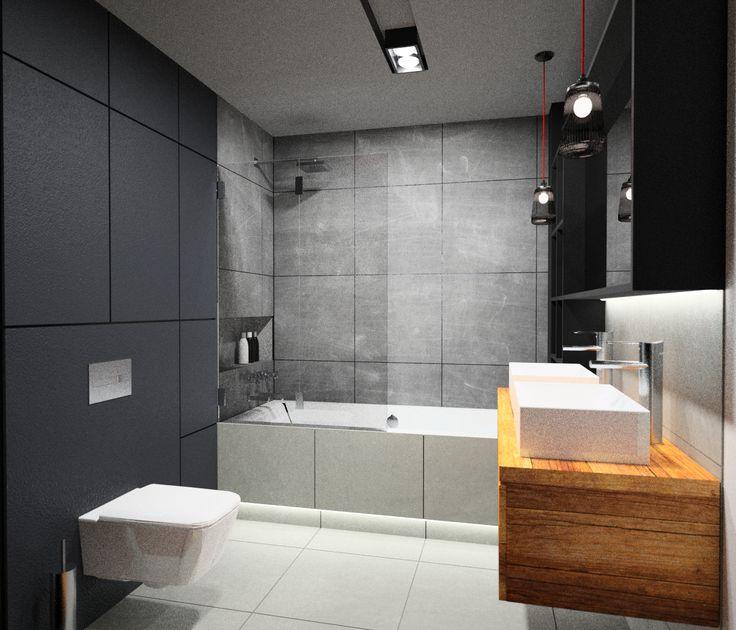 beton, drewno i cegła w łazience, 2 umywalki, ciemna łazienka