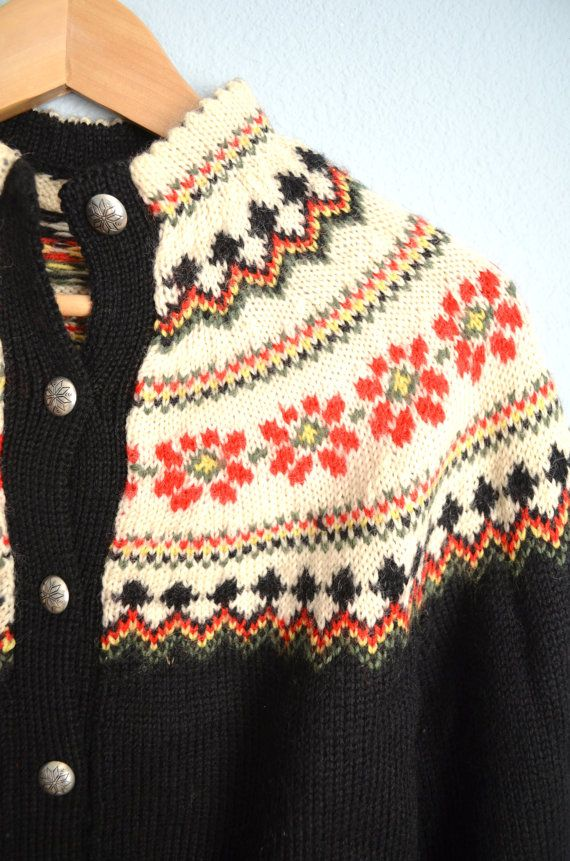 Vintage 70s 80s Wool Black Ivory Fair Isle by PerennialVintageShop