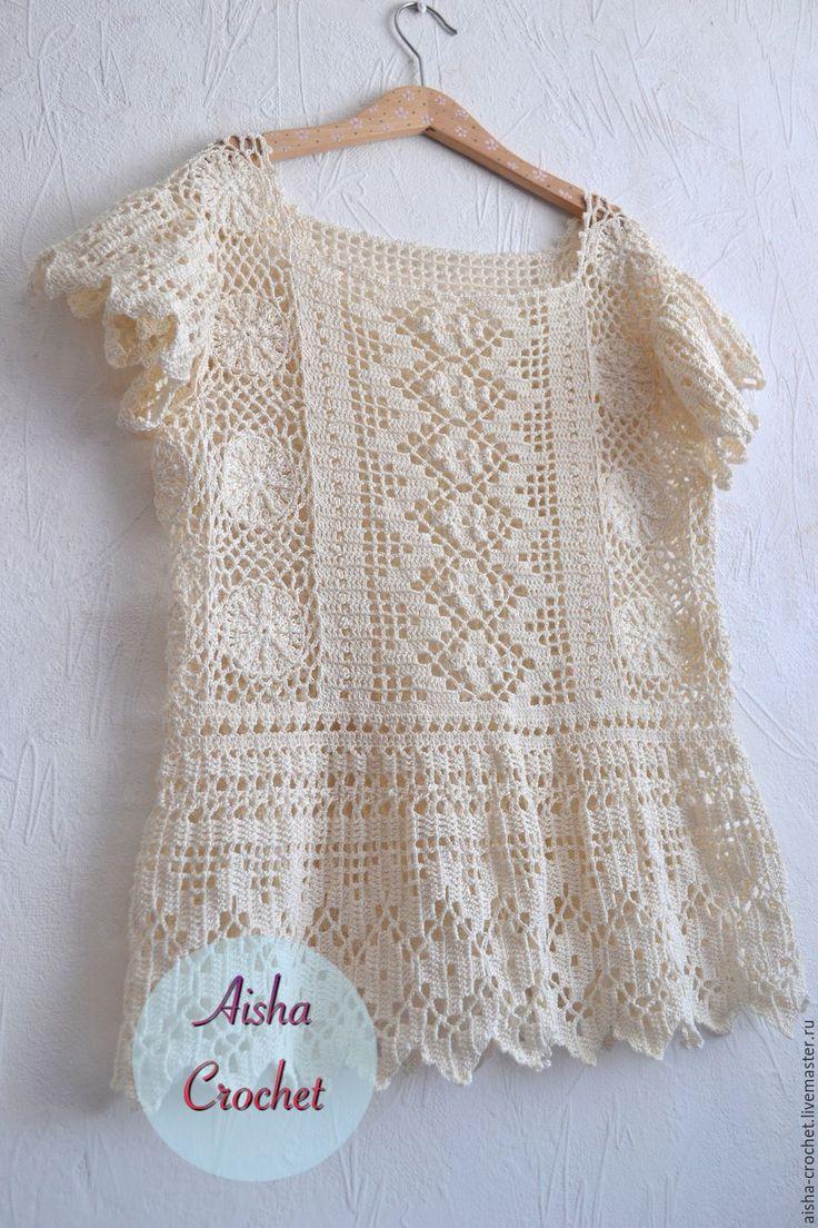 Купить Блуза в стиле Бохо - бежевый, бохостиль, бохо, блуза крючком, вязаный топ