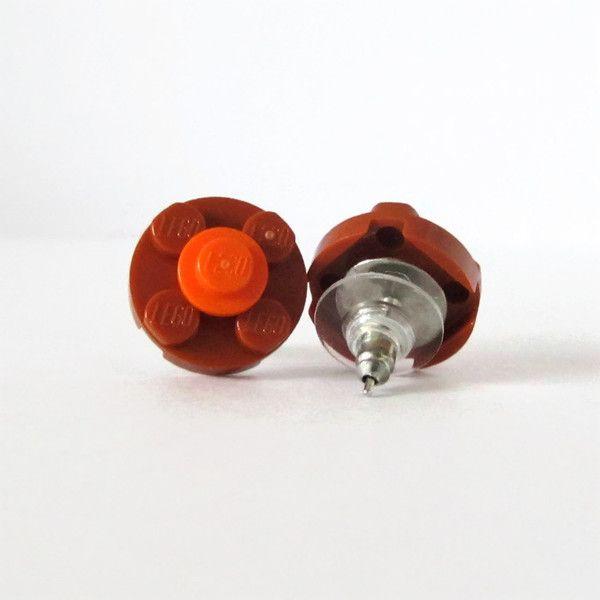 Σκουλαρίκια λουλούδια από τουβλάκια Σκούρο πορτοκαλί - Πορτοκαλί