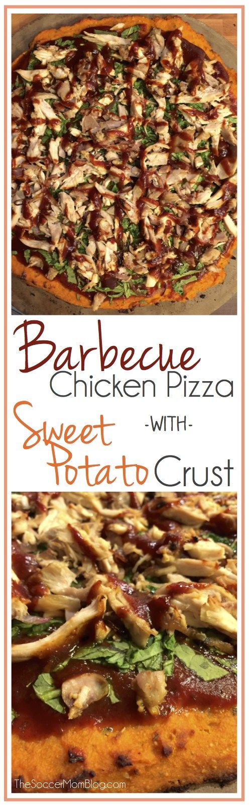 Barbecue Chicken Pizza with Sweet potato crust is gluten free, dairy free and packed with protein and veggies. It takes a while to make so plan for more than an hour.