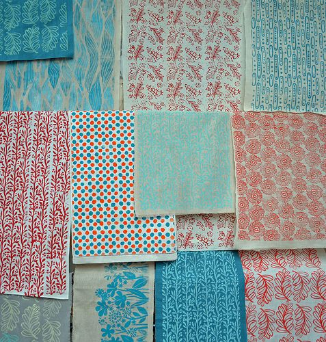 hand printed textiles on antique and vintage linen and cotton by amy rice www.amyrice.com