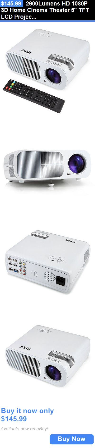 Home Audio: 2600Lumens Hd 1080P 3D Home Cinema Theater 5 Tft Lcd Projector Hdmi Usb Sd Tv BUY IT NOW ONLY: $145.99