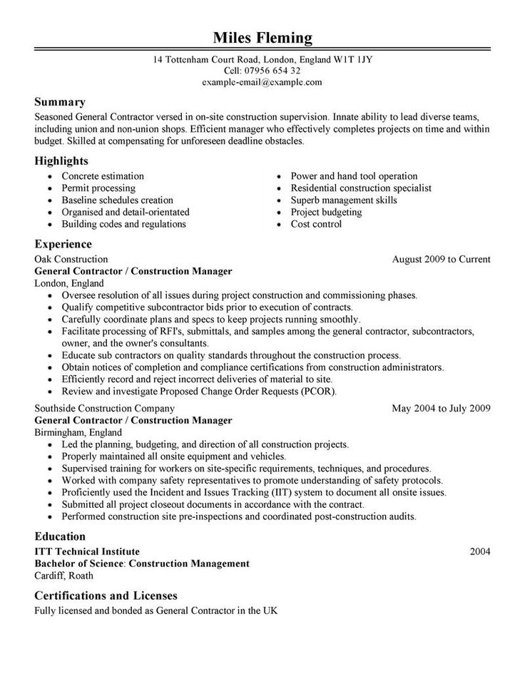 General Contractor Resume Samples resume Pinterest