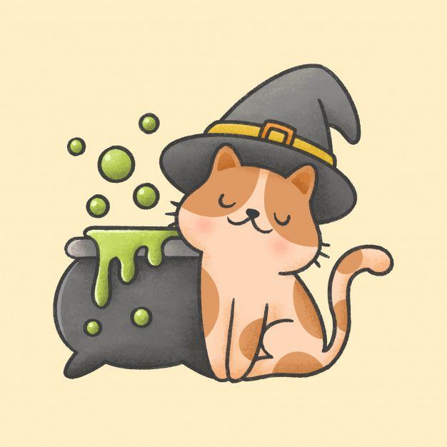 Cat Wearing Witch Hat And Poison Pot With Bubbles Cute Doodles Cute Bear Drawings Cute Cartoon Drawings