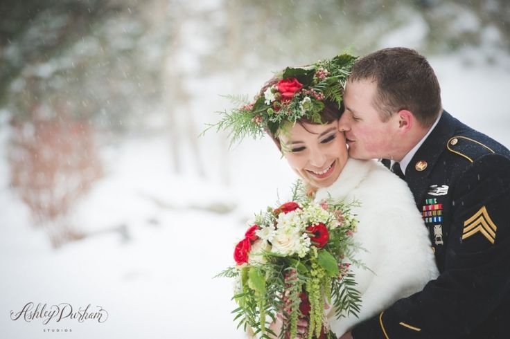 Styled Rustic Winter Wedding at Spruce Mountain Ranch, Larkspur CO, winter wedding flowers, winter floral crown for brides